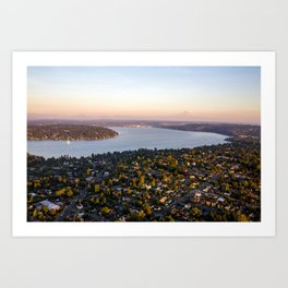 Sunset in Seattle (Seward Park) Art Print