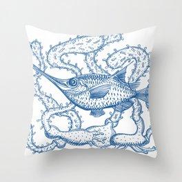 Joli poisson bleu Throw Pillow