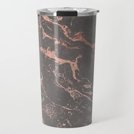 Modern Grey cement concrete on rose gold marble Travel Mug