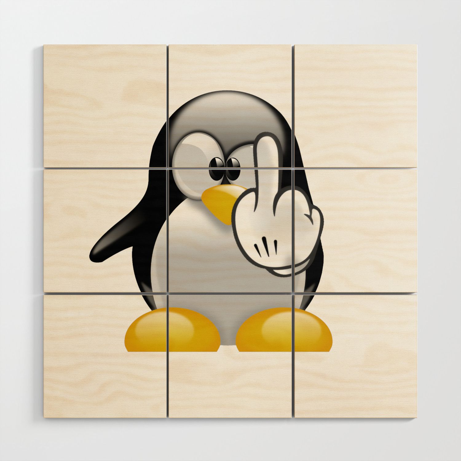 Cute Angry Penguins Funny Penguin Wood