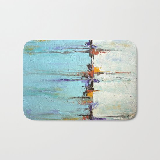 """Abstract White and Blue Painting – Textured Art – """"Sailing""""  Bath Mat"""