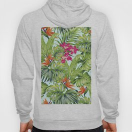 Bird of Paradise Greenery Aloha Hawaiiana Rainforest Tropical Leaves Floral Pattern Hoody