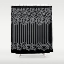 Black and Gray Floral Damask Pattern Shower Curtain