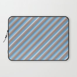Blue Grey White Inclined Stripes Laptop Sleeve