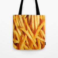 fries Tote Bags featuring Fries by Maioriz Home