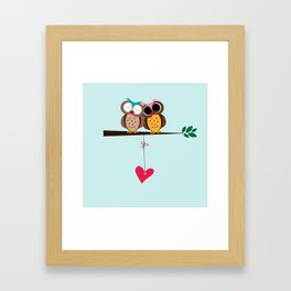 Love owls on the branch, blue background Framed Art Print