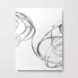 Minimalist Abstract Black and White Line Drawing Metal Print