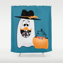 Silly Halloween Ghost Wants Your Candy Shower Curtain