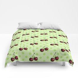 CHERRIES ON MINT GREEN Comforters