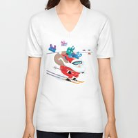 skiing V-neck T-shirts featuring Santa Skiing 1 by drawgood