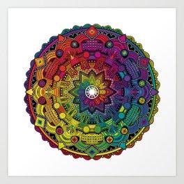 Time Dilation - Psychedelic Mandala Rainbow series Art Print