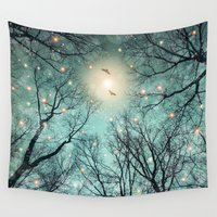 the fault Wall Tapestries featuring Nature Blazes Before Your Eyes (Mint Embers) by soaring anchor designs