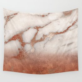 Shiny Copper Metal Foil Gold Ombre Bohemian Marble Wall Tapestry