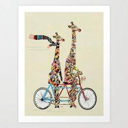 giraffe days lets tandem Art Print