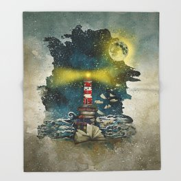 the sea is poetry Throw Blanket