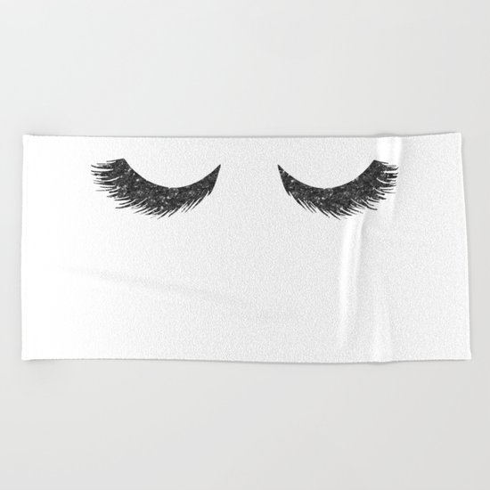 Lashes Black Glitter Mascara Beach Towel
