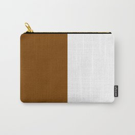 White and Chocolate Brown Vertical Halves Carry-All Pouch