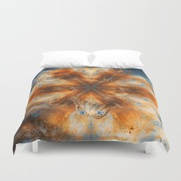 Surreal butterflies on corrugated iron mandala Duvet Cover