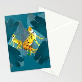 Panther Jungle Hideout Teal Stationery Cards