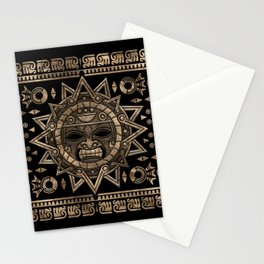 Aztec Sun God Gold and Black Stationery Cards