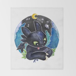 Baby Toothless Night Fury Dragon  Watercolor white bg Throw Blanket