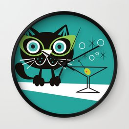 1950s Swank Mid Century Modern Martini Cocktail Kitty Cat Wall Clock