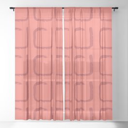 Imperfect Squares Minimal Geometry Coral Sheer Curtain