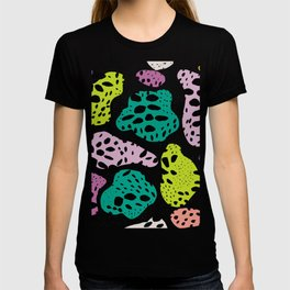 Modern abstract painted black polka dots fashion colors geometric shapes lavender lime T-shirt