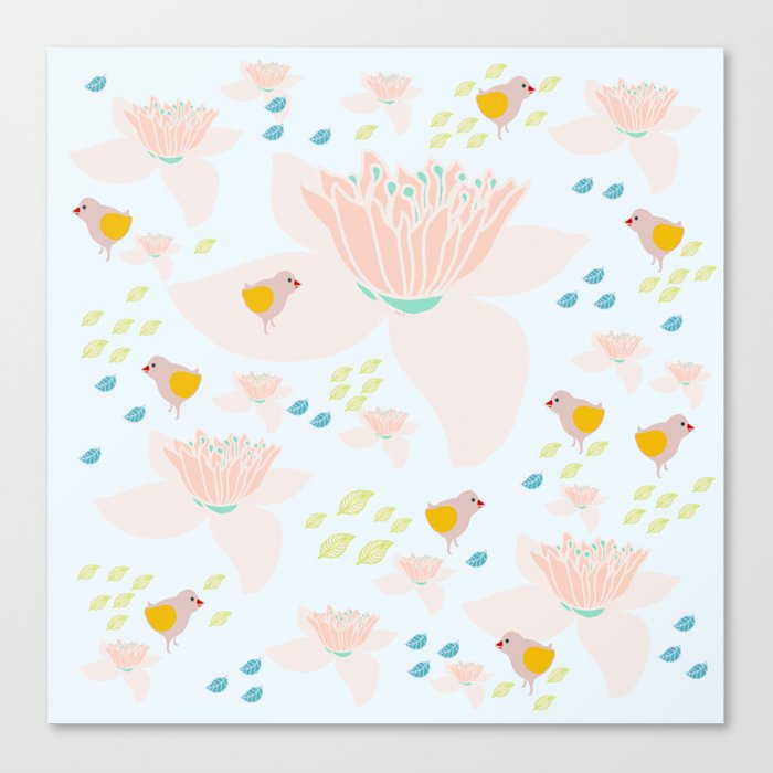 Lotus and babybird Canvas Print