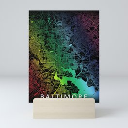 Baltimore MD USA Rainbow City Map Mini Art Print