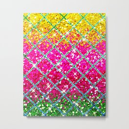 Glitter Pink Snakeskin  Metal Print