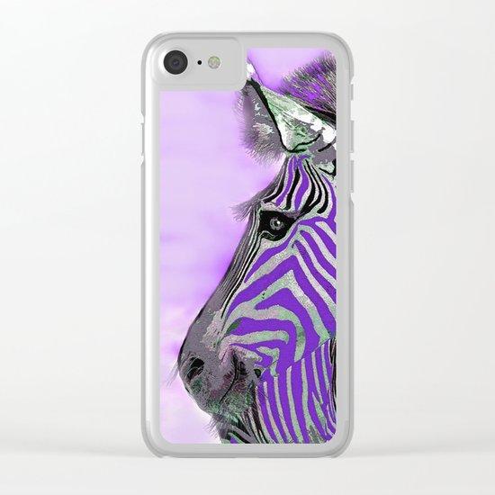 Zebra Purple and White Clear iPhone Case