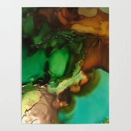 Melting Crystals, Green, Yellow, Brown an Aqua Poster