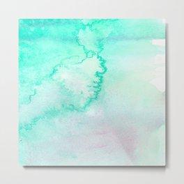Blush pink teal aqua watercolor modern ombre Metal Print
