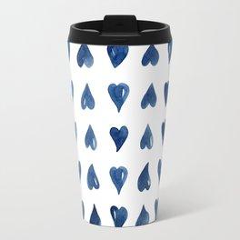 Hearts Watercolor Pattern Travel Mug
