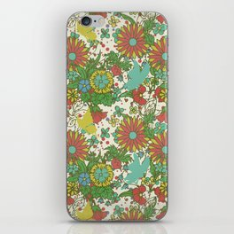 Garden Charm 10:  vintage retro butterfly shabby pattern yellow and blue iPhone Skin