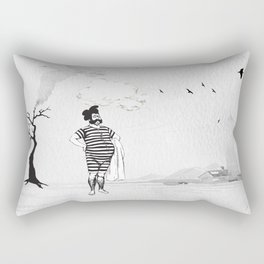 A Beached Ball and a Bearded Hipster Bathing. Rectangular Pillow
