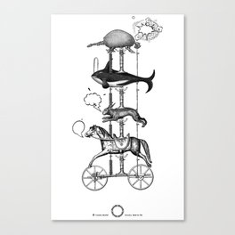 The fabulous story of a very unnatural carousel of wild animals Canvas Print