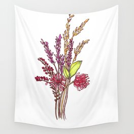 Wild Flower Bouquet Watercolor Painting Wall Tapestry