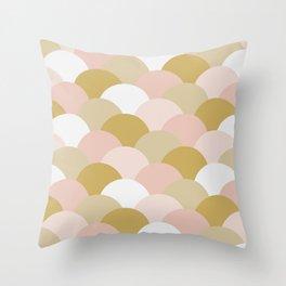 Light Pink and Mustard Yellow Clamshells Throw Pillow