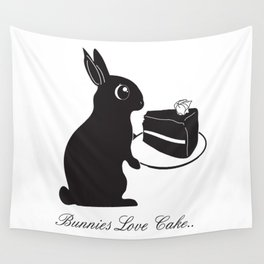 Bunnies Love Cake, Bunny Illustration, cake lovers, animal lover gift Wall Tapestry