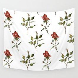 Loose Watercolor Rosebuds Wall Tapestry