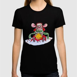 Merry Christmas and Happy New Year Mouse with a piece of cheese T-shirt