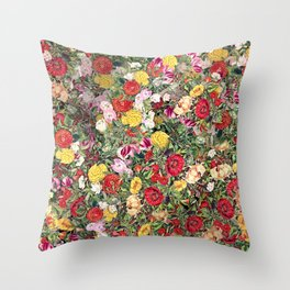Maximalist Shabby Chic Lush Floral Throw Pillow