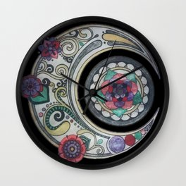 Spiral floral moon Wall Clock