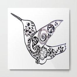 Humming bird black and white Metal Print
