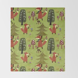 Happy foxes in the forest - Cute Fox Pattern Throw Blanket