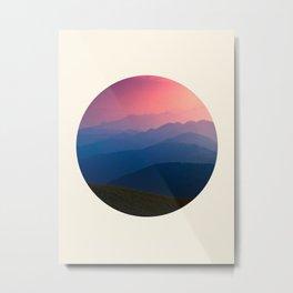 Blue Purple & Pink Mountains Sunset Silhouette Metal Print