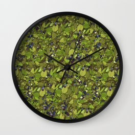 Blueberry Bushes Wall Clock