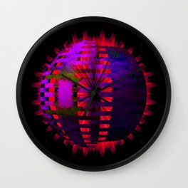 Purple Layered Star in Red Flames Wall Clock
